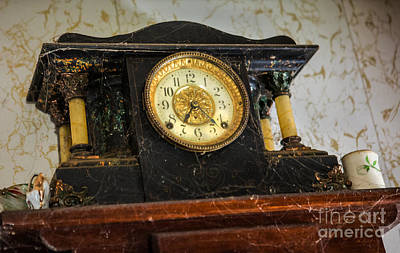 Anique Clock With Cobwebs Art Print by Iris Richardson