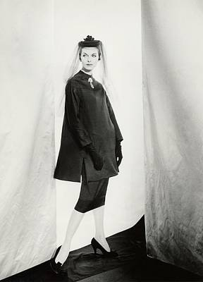 Dior Photograph - Anne St. Marie Wearing A Dior Coat by Henry Clarke