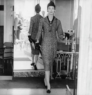 Dior Photograph - Anne St. Marie Wearing A Dior Dress by Henry Clarke