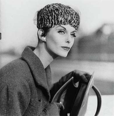 Dior Photograph - Anne St. Marie Wearing A Dior Hat by Henry Clarke
