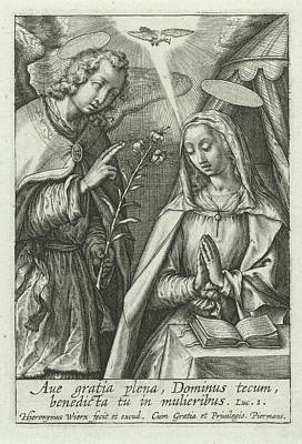 Annunciation, Hieronymus Wierix Art Print by Hieronymus Wierix