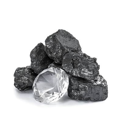 Anthracite And Diamond Art Print by Science Photo Library