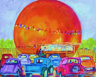 Orange Julep Painting - Antique Cars At The Julep by Carole Spandau