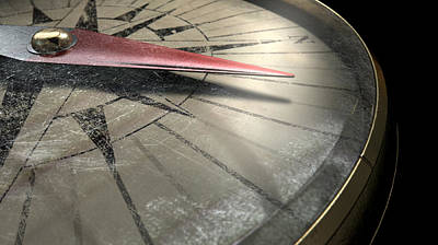 Field Digital Art - Antique Compass Closeup by Allan Swart