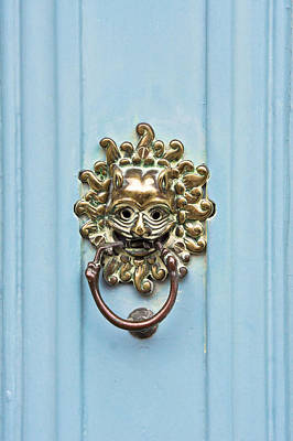 Blue Doors Photograph - Antique Door Knocker by Tom Gowanlock