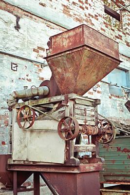 Aging Photograph - Antique Grain Barrow by Tom Gowanlock