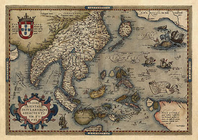Asia Drawing - Antique Map Of Asia And The Pacific Islands By Abraham Ortelius - 1570 by Blue Monocle