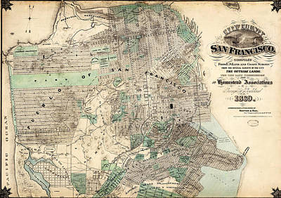 Old Map Painting - Antique Map Of City And County Of San Francisco by Celestial Images