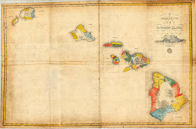 Old Map Painting - Antique Map Of Hawaii  by Celestial Images