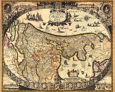 Netherlands Drawing - Antique Map Of Holland 1630 by Mountain Dreams