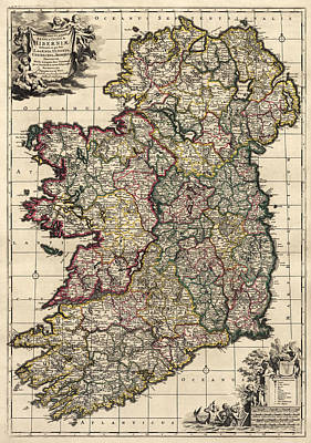 Drawing - Antique Map Of Ireland By Frederik De Wit - Circa 1700 by Blue Monocle