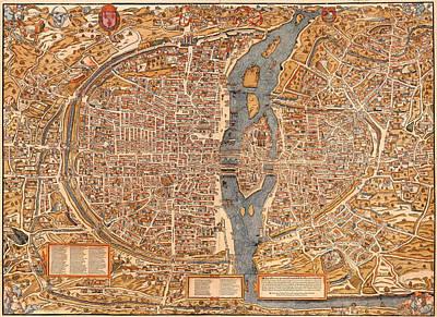 Antique Map Of Paris 1550 Art Print