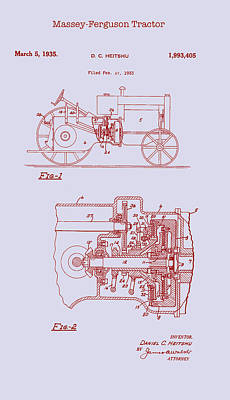 Tractor Drawing - Antique Massey-ferguson Tractor Patent 1935 by Mountain Dreams