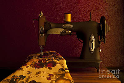 Lovely Lavender - Antique sewing machine with spools and thread and fabric by Jim Corwin