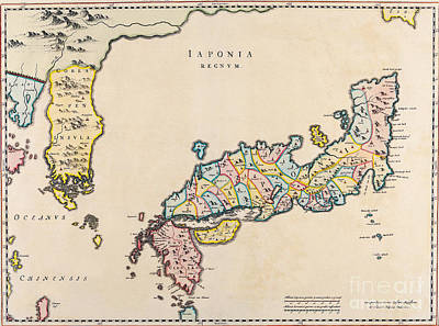 Map Of Japan Painting - Antiquie Map by Baltzgar