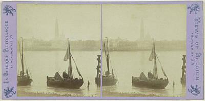Antwerpen Drawing - Antwerp Anvers Antwerpen, The Cathedral And The Scheldt by Artokoloro