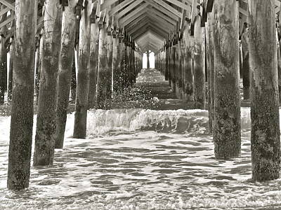 Photograph - Apache Pier B/w by Eve Spring