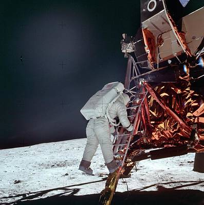Aldrin Photograph - Apollo 11 Moon Landing by Image Science And Analysis Laboratory, Nasa-johnson Space Center
