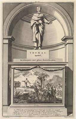 Heart Stone Drawing - Apostle Thomas, Jan Luyken, Zacharias Chatelain II by Jan Luyken And Zacharias Chatelain (ii) And Fran?ois Halma