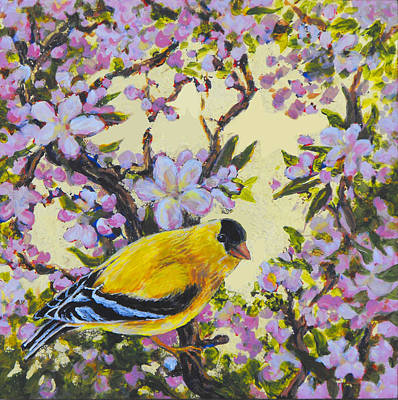 Painting - Apple Blossom Perch by Gina Grundemann