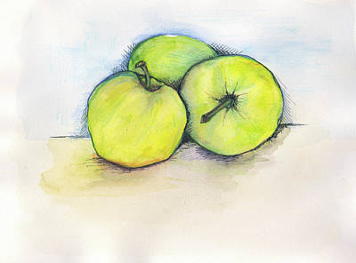 Kitchen Watercolor Painting - Apples by Anne Seay