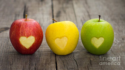 Exercise Photograph - Apples With Engraved Hearts by Aged Pixel