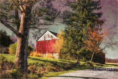 Country Road Digital Art - April Showers by Lois Bryan