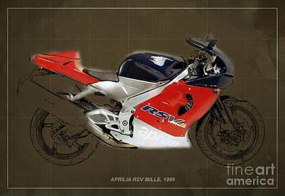 Transportation Mixed Media - Aprilia Rsvc Mille 1999 by Pablo Franchi