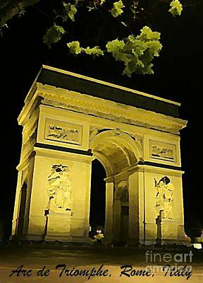 Arc De Triomphe At Night Print by John Malone