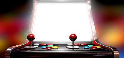 Steer Digital Art - Arcade Game With Illuminated Screen by Allan Swart