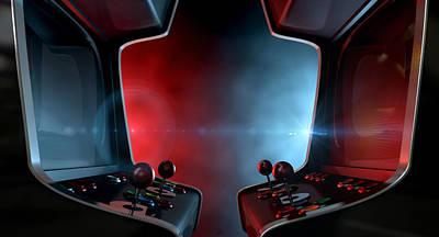 Good Vs. Evil Digital Art - Arcade Machine Opposing Duel by Allan Swart