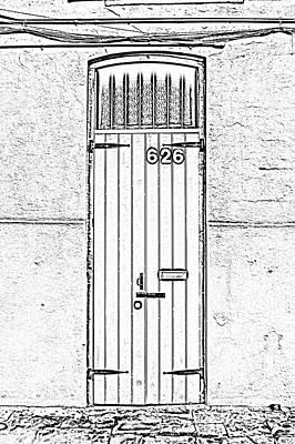 Arched Doorway French Quarter New Orleans Photocopy Digital Art Art Print by Shawn O'Brien