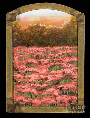 Painting - Arched Morning Orange Poppy Field W Frame by Vic  Mastis