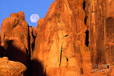Arches Moonset Art Print by Inge Johnsson