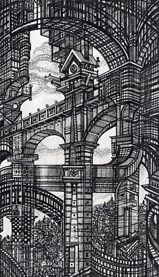 Abstraction Drawing - Architectural Utopia 5 Fragment by Serge Yudin
