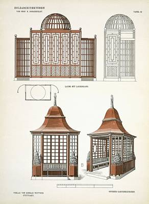 Elevation Drawing - Architecture In Wood, C.1900 by Richard Dorschfeldt