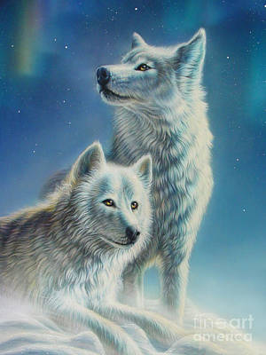 Arctic Digital Art - Arctic Wolves by Adrian Chesterman