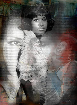 Rhythm And Blues Digital Art - Aretha Franklin by Lynda Payton