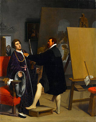 Aretino Ingres Painting - Aretino In The Studio Of Tintoretto by Jean-Auguste-Dominique Ingres