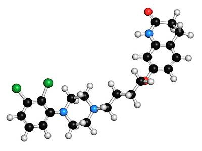 Schizophrenia Photograph - Aripiprazole Antipsychotic Drug Molecule by Molekuul