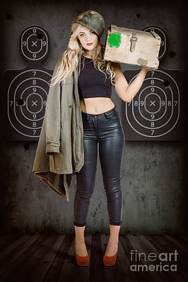 Photograph - Army Pinup Girl At Rifle Range. Bullet Proof by Jorgo Photography - Wall Art Gallery