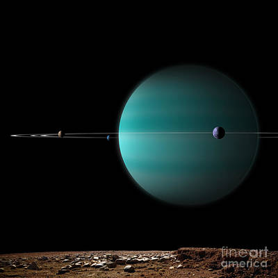 Artists Depiction Of A Ringed Gas Giant Art Print by Marc Ward