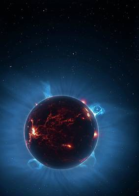Artwork Of Volcanic World Eclipsing Star Art Print