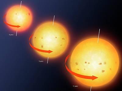 Sunspot Photograph - Artwork Showing Sunspot Cycle by Mark Garlick