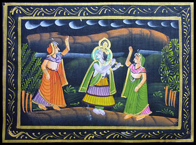 Krishnan Painting - As The God Dances by Sivaanan Balachandran
