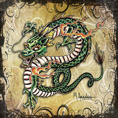 Mixed Media - Asian Dragon by Maria Arango