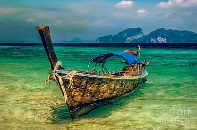 Land Digital Art - Asian Longboat by Adrian Evans