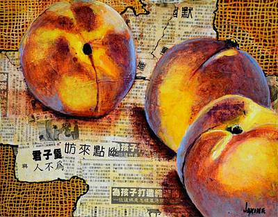 Asian Peaches Art Print by JAXINE Cummins