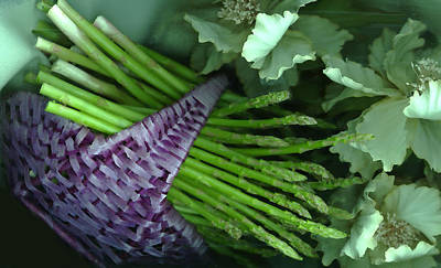 Asparagus Digital Art - Asparagus In Basket by Karma Freeman