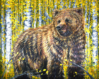 Kodiak Bear Painting - Aspen Bear by Teshia Art